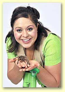 Photograph of Bernadette the Bug Lady holding a tarantula.